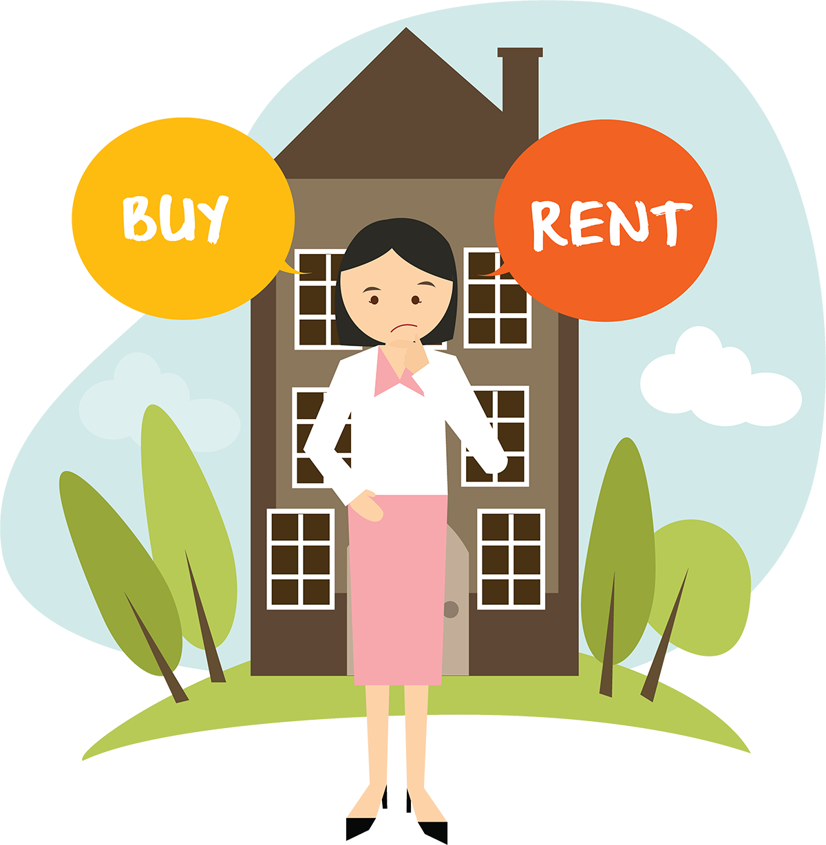 Woman Choosing Between Buying or Renting a Home.