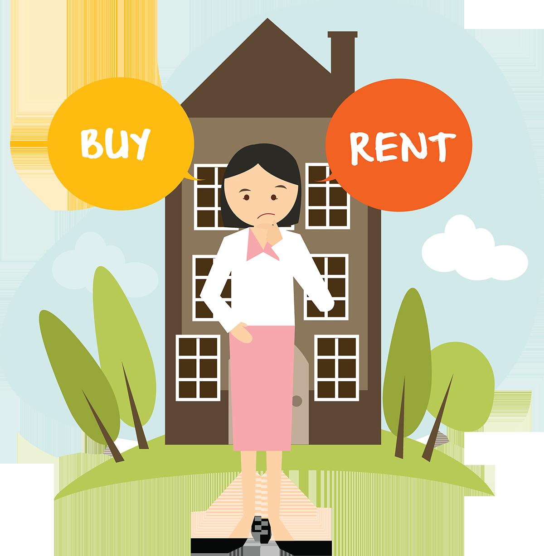 Woman Choosing Between Buying or Renting a Home.