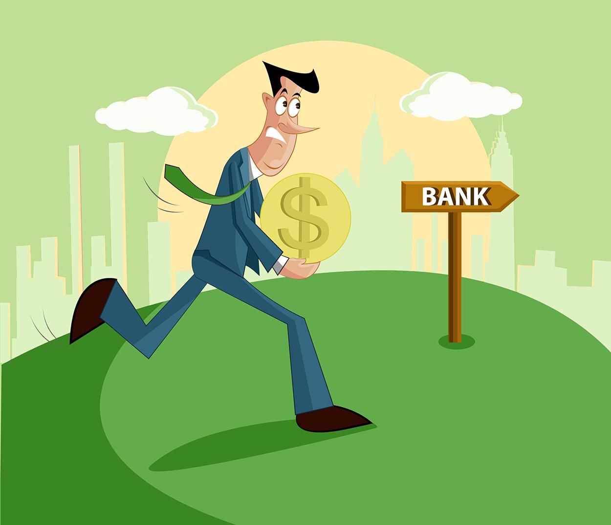 Man Paying Bank.