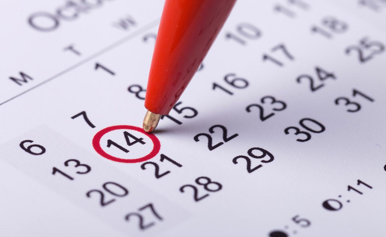 Marked calendar date.