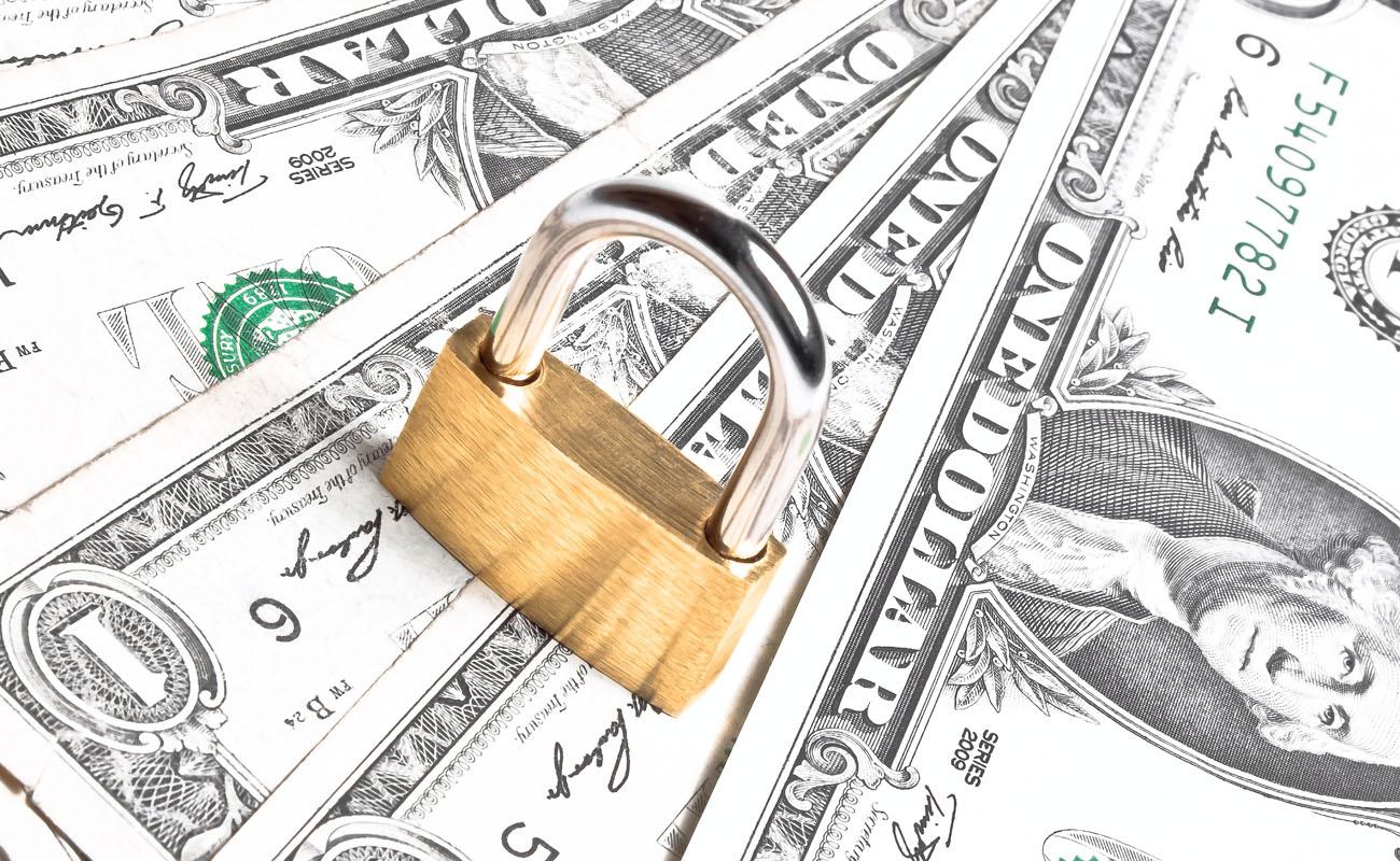 Money under the padlock.