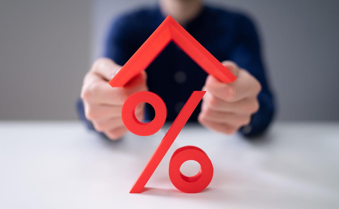 Percent sign house.